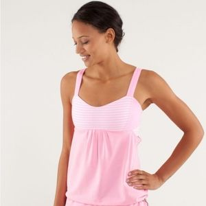 Lululemon Run:Back On Track Tank in Pink Shell/Classic Stripe White Pink Shell